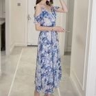 Printed Cold Shoulder Maxi Chiffon Dress 1596