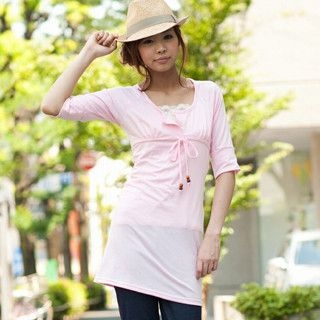 Picture of ageha@shibuya Elbow-Sleeve Tie-Front Empire Dress Pink - One Size 1022589693 (ageha@shibuya Tees, Womens Tees, Japan Tees, Causal Tops)
