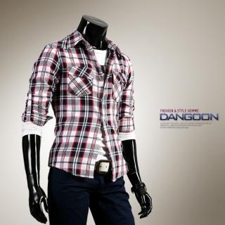 Picture of DANGOON Tab-Sleeve Plaid Shirt 1022303059 (DANGOON, Mens Shirts, Korea)