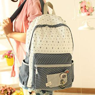 Anchor and Dot Printed Canvas Backpack