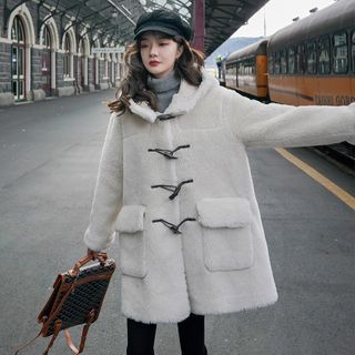 Image of Faux Shearling Long Duffle Coat