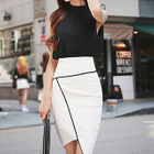 Set: Sleeveless Chiffon Blouse + Asymmetrical Hem Pencil Skirt 1596
