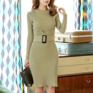 Rib Knit Dress with Belt 1062379235