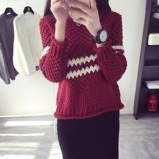 Stripe Ribbed Sweater 1050486411
