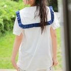 Frill Trim Collared Short Sleeve Top 1596