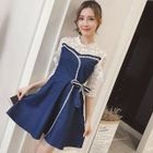 Lace Panel Elbow-Sleeve Dress 1596