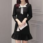 Bow Accent Ruffle Hem 3/4 Sleeve Dress 1596