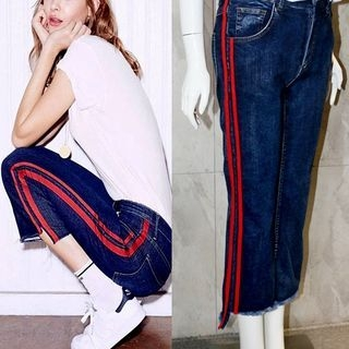 Striped Boot-Cut Jeans 1058420584