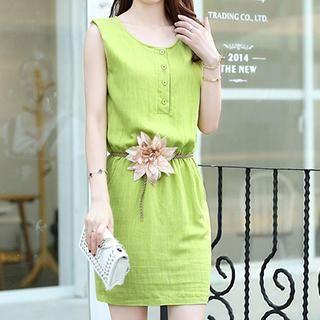 Sleeveless Button-Front Dress 1044745801