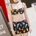 Set: Floral Swim Top + Skirt + Cover 1596