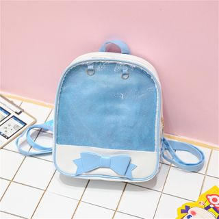 Image of Ribbon Faux Leather Backpack