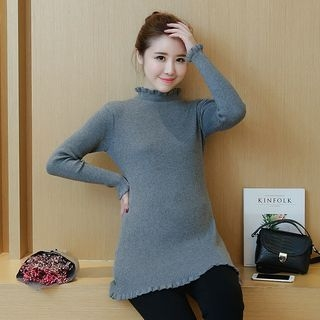 Maternity Long-Sleeve Rib Knit Top 1053952946
