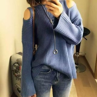Ribbed Knit Cut Out Shoulder Sweater 1053586891