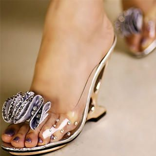 "Buy Kvoll Rhinestone ""Corsage"" Clear Wedge Mules 1023070584"