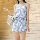 Set: Flower Print Buttoned Camisole Top + Drawstring Waist Shorts 1596