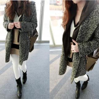 Knit Hood-Layered Melange Coat