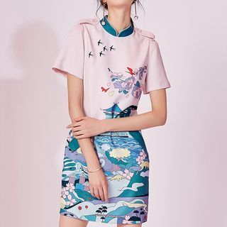 Printed Short Sleeve Mandarin Collar Dress 1058555089