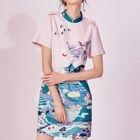 Printed Short Sleeve Mandarin Collar Dress 1596