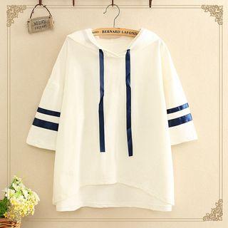 Elbow-Sleeve Hooded T-Shirt 1063900565