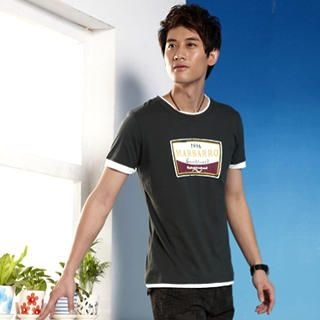 Picture of SLOWTOWN Contrast-Trim Short-Sleeve Printed Tee 1022710843 (SLOWTOWN, Mens Tees, China, Mens Causal Tops)