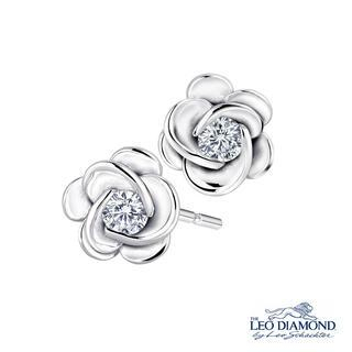 Picture for La Memoire en Rose Collection - 18K White Gold Diamond Solitaire in Rose Earrings - United states