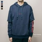 Panel Sleeve Embroidery Hooded Pullover 1596