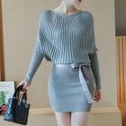 Ribbed Long-Sleeve Knit Dress 1596