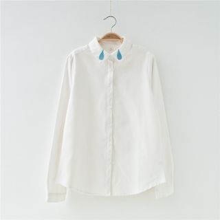 Water Drop Embroidered Long-Sleeve Shirt 1051459237