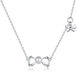 925 Sterling Silver with Freshwater Cultured Pearl Ribbon Bow Necklace