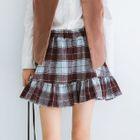 Plaid Ruffle Hem Flared Skirt 1596