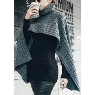 Turtle-Neck Wool Blend Knit Cape Top 1055843256