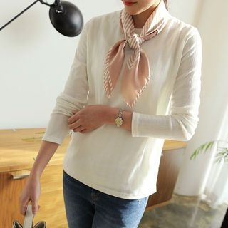 Crew-Neck Pastel-Color Ribbed T-Shirt 1064562820