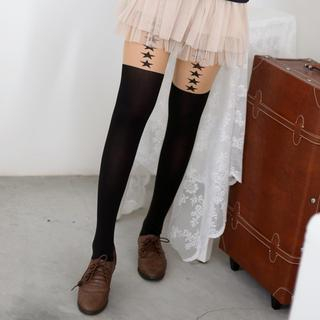 Star Print Two-Tone Tights Black and Nude - One size 1035384876
