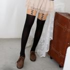 Star Print Two-Tone Tights Black and Nude - One size 1596