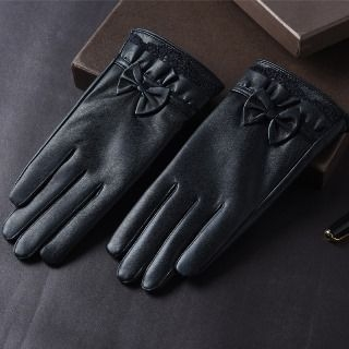 Bow-Accent Faux-Leather Gloves 1065499275