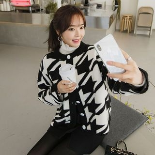 Round-Neck Houndstooth Cardigan 1063768609