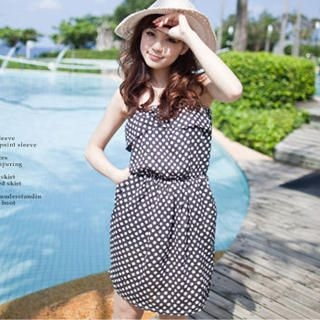 Buy LULUS Strapless Ruffle Dotted Sundress 1022922593