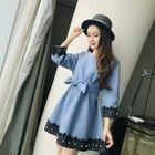 Lace Trim Tie-Waist 3/4-Sleeve Dress 1596