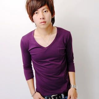 Picture of SLOWTOWN 3/4-Sleeve Side-Button T-Shirt 1023012386 (SLOWTOWN, Mens Tees, China)