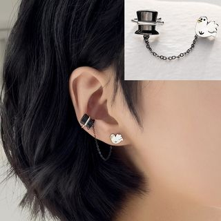 Sterling   Earring   Pigeon   Silver   Magic   White   Black   Size   Hat   One