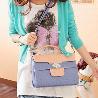 Ostrich-Print Color-Block Satchel