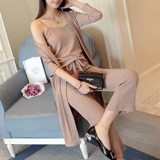 Set: Ribbed Knit Camisole + Long Cardigan + Drawstring Cropped Knit Pants 1057977759