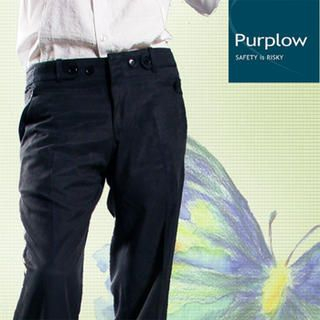 Buy Purplow Button Waist Regular Fit Pants in Charcoal 1004802248