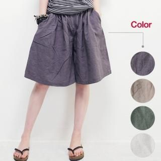 Picture of Beccgirl Wide-Leg Linen Blend Shorts 1022976912 (Womens Wide-Leg Pants, Womens Shorts, Beccgirl Pants, South Korea Pants)