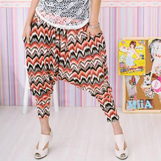 Buy 59 Seconds Print Harem Pants Coral and Gray – One Size 1022968257