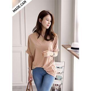 Elbow-Sleeve V-Neck Cuffed-Sleeve T-Shirt 1058463906