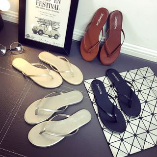 Image of Faux-Leather Flip Flops