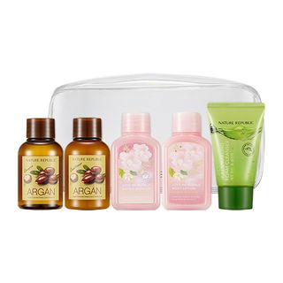 Nature Republic - Travelmate All In One Kit: Argan Essential Deep Care Shampoo 50ml + Conditioner 50ml + Love Me Bubble Bath & Shower Gel (Floral Bouquet) 50ml + Body Lotion (Floral Bouquet) 50ml + Jeju Sparkling Foam Cleanser 30ml 5pcs 1061076646