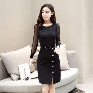 Button Detail Long-Sleeve Sheath Dress 1057259667