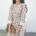 Floral Print Tie-Waist Long-Sleeve Midi A-Line Dress 1596